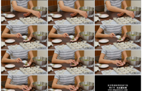 4K实拍视频素材丨特写女子手工包饺子
