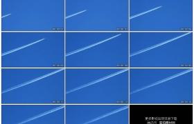高清实拍视频素材丨湛蓝天空中飞机飞过拖出长长的白色尾气