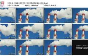 4K实拍视频素材丨仰拍蓝天背景下两个高耸的烟囱排放着白色的浓烟