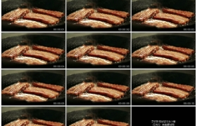 2K实拍视频素材丨特写在平底锅里煎培根
