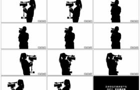 4K实拍视频素材丨白色的背景上带着稳定器进行拍摄的摄影师黑色剪影