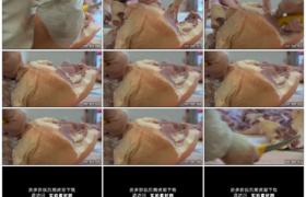高清实拍视频素材丨特写屠宰场工人分割猪肉