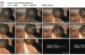高清实拍视频素材丨特写用手持切割机切割钢材溅起火花