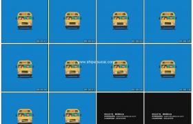 高清动态视频素材丨MG动画-蓝色背景上行驶的黄色校车