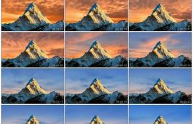 4K实拍视频素材丨夕阳映照下的雪山峰顶上空晚霞流动延时摄影