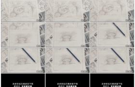 高清实拍视频素材丨铅笔在影视分镜头故事板上滚动