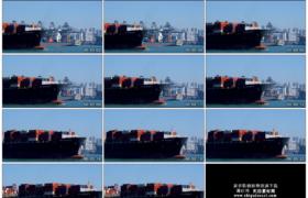 4K实拍视频素材丨一艘满载货柜的货轮驶离香港葵青货柜码头