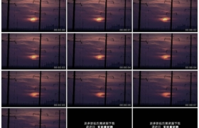 高清实拍视频素材丨黄昏日落晚霞下林立的高压线架