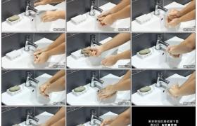 高清实拍视频素材丨特写拿香皂洗手然后用清水冲干净