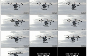 高清实拍视频素材丨仰拍天空中飞行的农业植保无人机