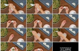 4K实拍视频素材丨俯拍女子手工包饺子