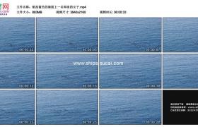 4K实拍视频素材丨航拍蓝色的海面上一名仰泳的女子