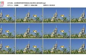 高清实拍视频丨从前景的野花野草变换焦点到后景的火箭发射塔