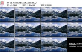 高清实拍视频丨晴天的高原蓝天白云雪山倒映在湖泊