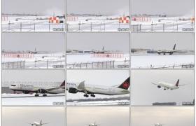 高清实拍视频素材丨冬天加拿大航空公司飞机从加拿大机场起飞