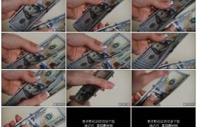 高清实拍视频素材丨特写手工清点一张张美元