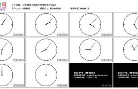 高清动态视频丨白色背景上模拟时钟指针旋转