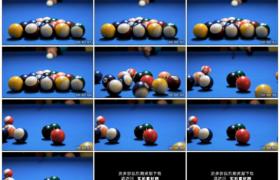 4K实拍视频素材丨蓝色球桌上台球开球