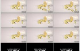 高清实拍视频素材丨鱼肝油胶囊散落到白色的桌面上