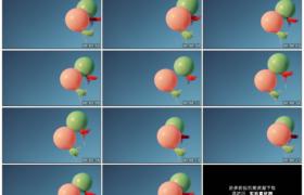 高清实拍视频素材丨蓝天前一红一绿两只气球飘在空中