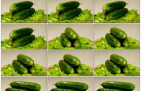 4K实拍视频素材丨旋转着的新鲜蔬菜 青菜和黄瓜