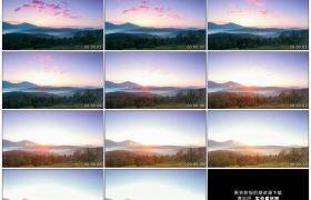 高清实拍视频素材丨清晨乡村森林山峦之上彩霞流动太阳升起