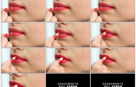 4K实拍视频素材丨红色铅笔勾勒嘴唇轮廓