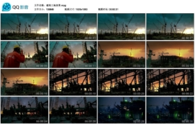 [高清实拍素材]建筑工地夜景