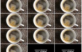 4K实拍视频素材丨俯拍咖啡豆上一杯冒着热气的咖啡