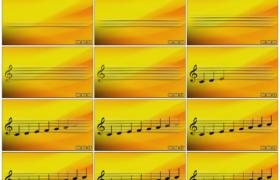 高清动态视频素材丨橙黄色背景上的五线谱和音阶