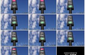 高清实拍视频素材丨仰拍蓝天流云下的红绿灯