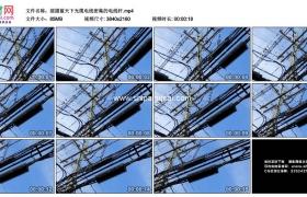 4K实拍视频素材丨摇摄蓝天下光缆电线密集的电线杆