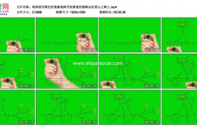 高清实拍视频素材丨绿屏前用黑色的笔画成两只依偎着的猫咪站在爱心之树上