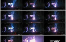 高清实拍视频素材丨特写焊工烧电焊火花四溅