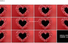 4K动态视频素材丨浪漫的心形花瓣边框动态素材(含Alpha通道)