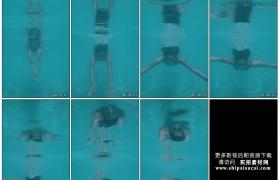 高清实拍视频素材丨水下摄影 女子跳水在蓝色的游泳池中游泳1080×1920竖幅