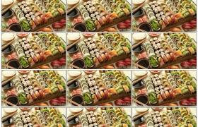 高清实拍视频素材丨餐桌上的美食-日式料理-寿司