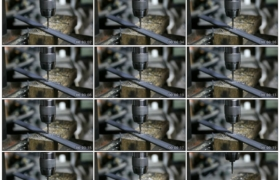 高清实拍视频素材丨特写在车床上给金属板打孔