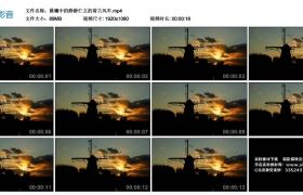高清实拍视频丨晨曦中的静静伫立的荷兰风车剪影