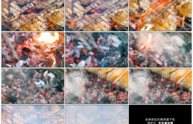 高清实拍视频素材丨特写翻动炭火上的烤肉