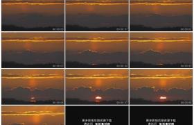 高清实拍视频素材丨清晨一轮红日从山岭上的朝霞中升起