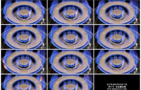 4K实拍视频素材丨特写厨房炉灶中的天然气火焰