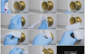 高清实拍视频素材丨特写喷消毒水给门把消毒