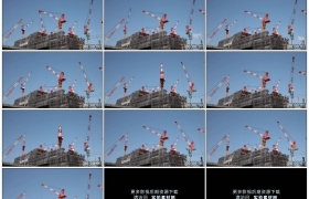 高清实拍视频素材丨建筑工地上繁忙塔吊延时摄影