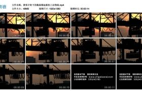 【高清实拍素材】黄昏夕阳下的集装箱起重机工业物流