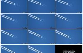 4K实拍视频素材丨喷气式飞机在蓝色的天空中飞行