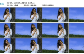 高清实拍视频丨女子靠在树上嗅着花香一脸沉醉