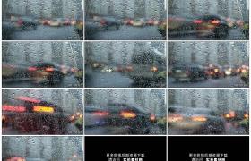 高清实拍视频素材丨雨天挂着水珠的玻璃车窗外行驶的汽车延时摄影