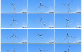 4K实拍视频素材丨特写晴天蓝天白云下缓缓转动的风力发电机