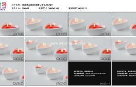 4K实拍视频素材丨摇摄燃烧着的浪漫心形红色蜡烛